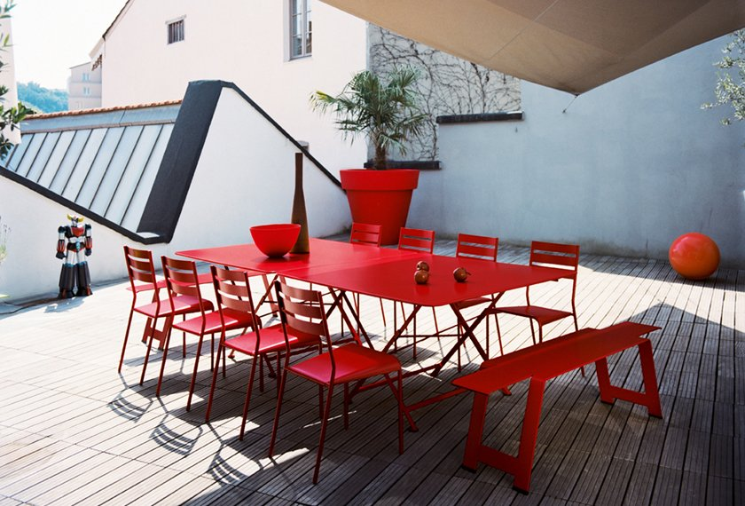 table chaise cargo banc origami rouge fermob