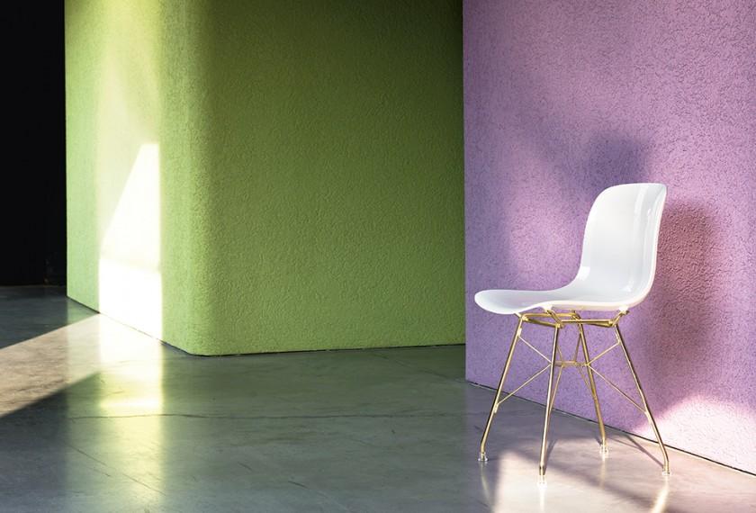 acheter chaise troy plastique pieds fils d acier plaqu cuivre ou. Black Bedroom Furniture Sets. Home Design Ideas